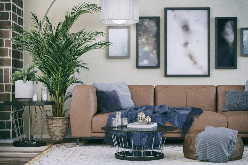 Picture of cozy sofa in domestic living room