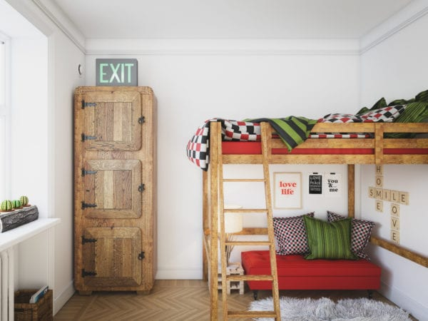 Digitally generated warm and cozy small domestic room (home) with wooden bunk bed, small sleeping sofa and a three-door wooden closet.