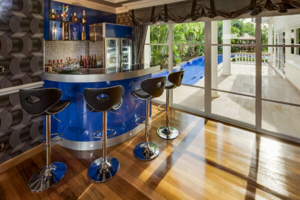 Glass fridge in a private bar lounge