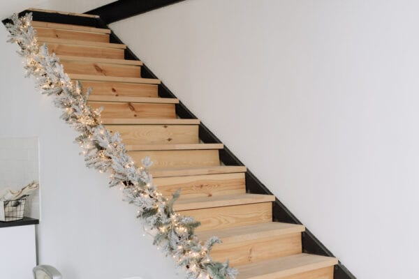 Christmas stair decorations using lights