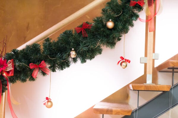 Christmas ornaments on stairs for decoration