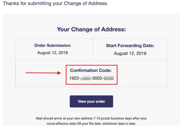 Change of address confirmation code