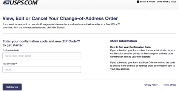 usps view, edit, or cancel your change-of-address order form