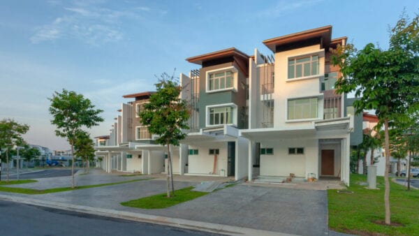 Modern townhouses with geometric architecture
