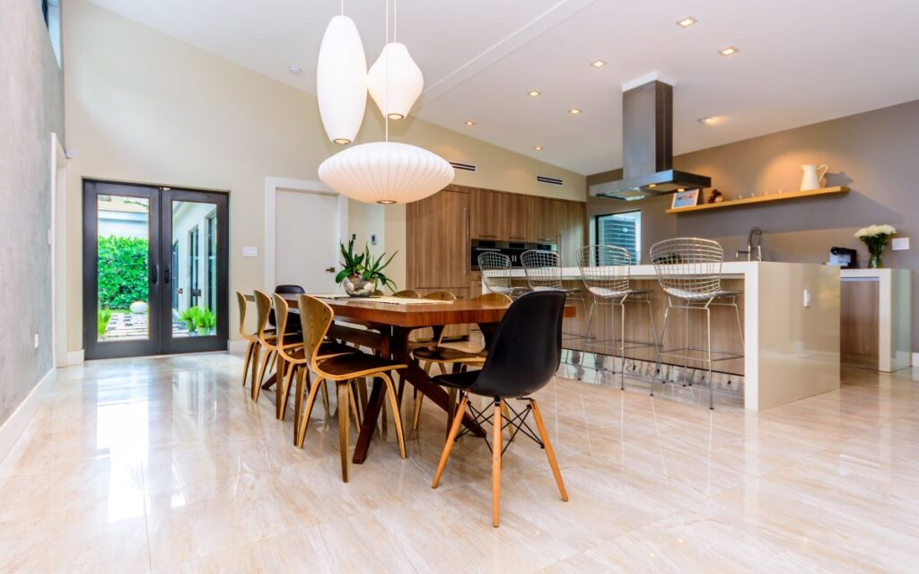 A new home build is bueatifully decorated with a modern interior
