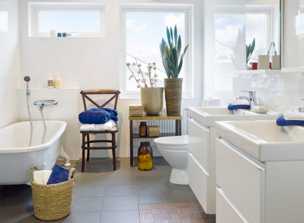 bathroom with blue accents