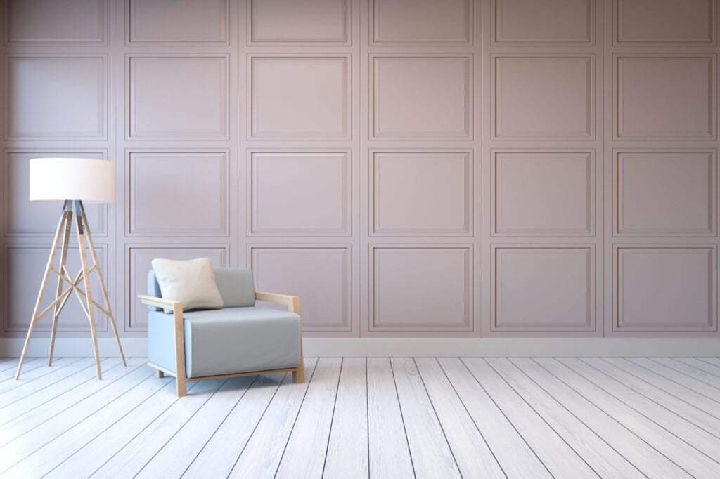 Minimalist  interior design,blue armchair with white lamp on pink frame wall and white wood flooring , 3d render