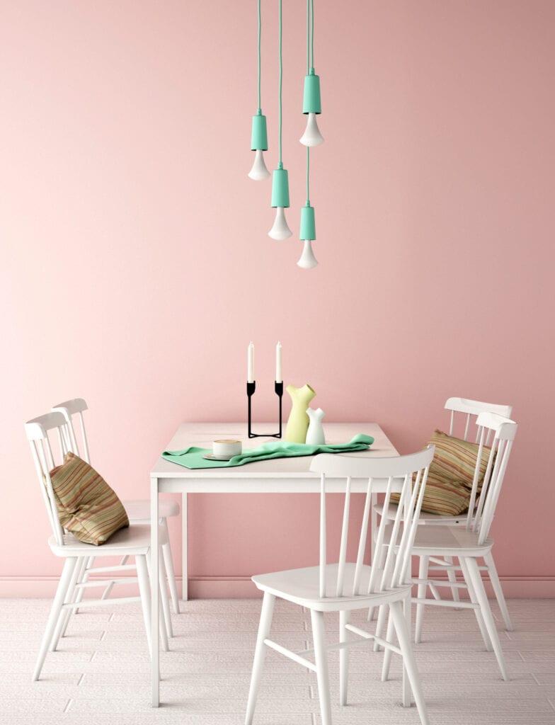 millennial pink dinning room
