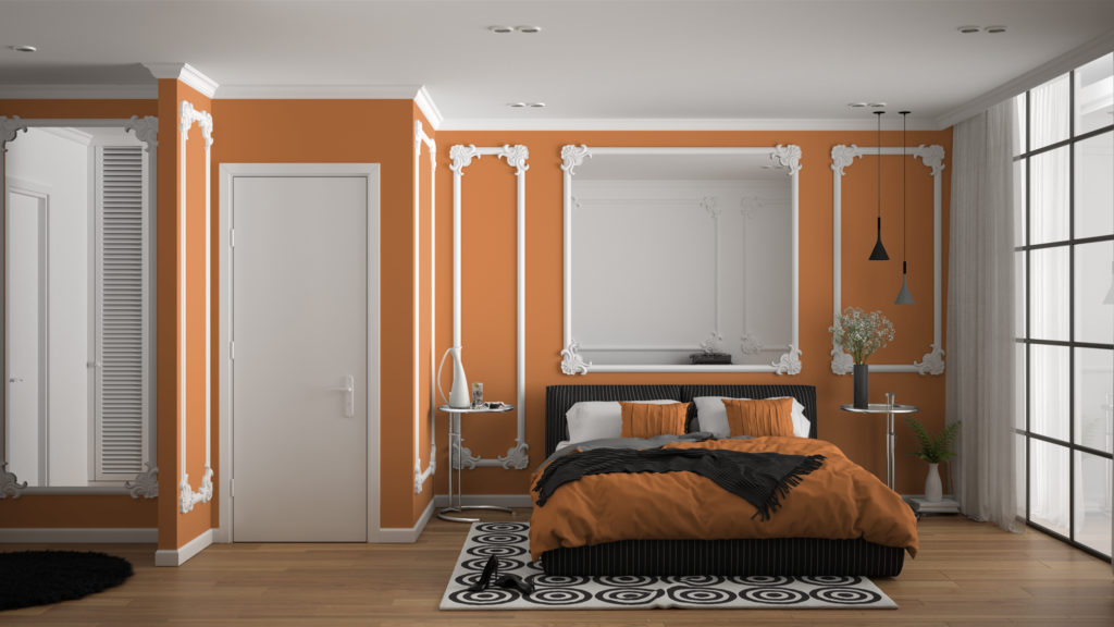 Terracotta-colored bedroom