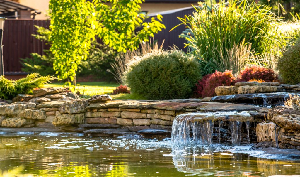 Luxurious backyard pond with waterfall and landscaping