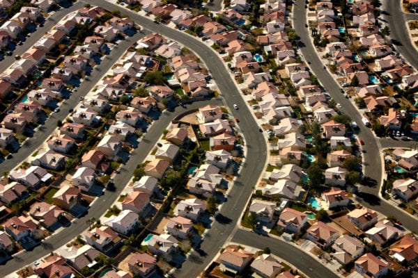 Aerial view of a North Las Vegas suburb