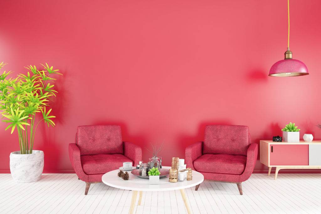 Raspberry colored living room paint