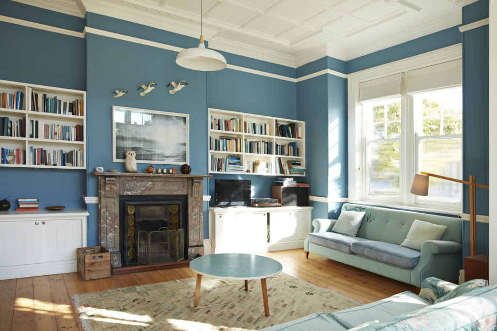 Ocean blue living room paint color