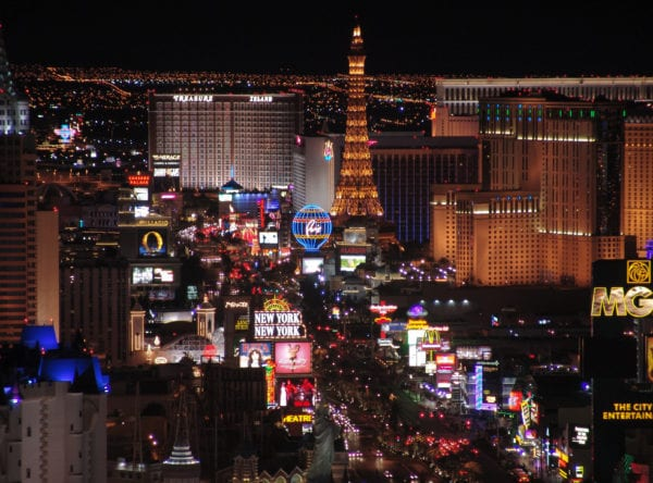 The neon lights of the Las Vegas Strip