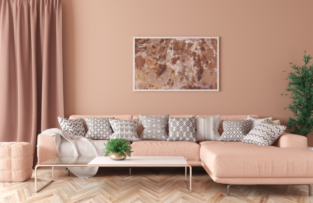 Modern peach living room with peach decor