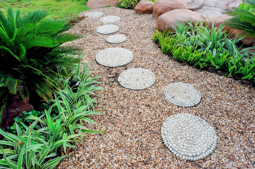 Geometric path made of rocks in backyard