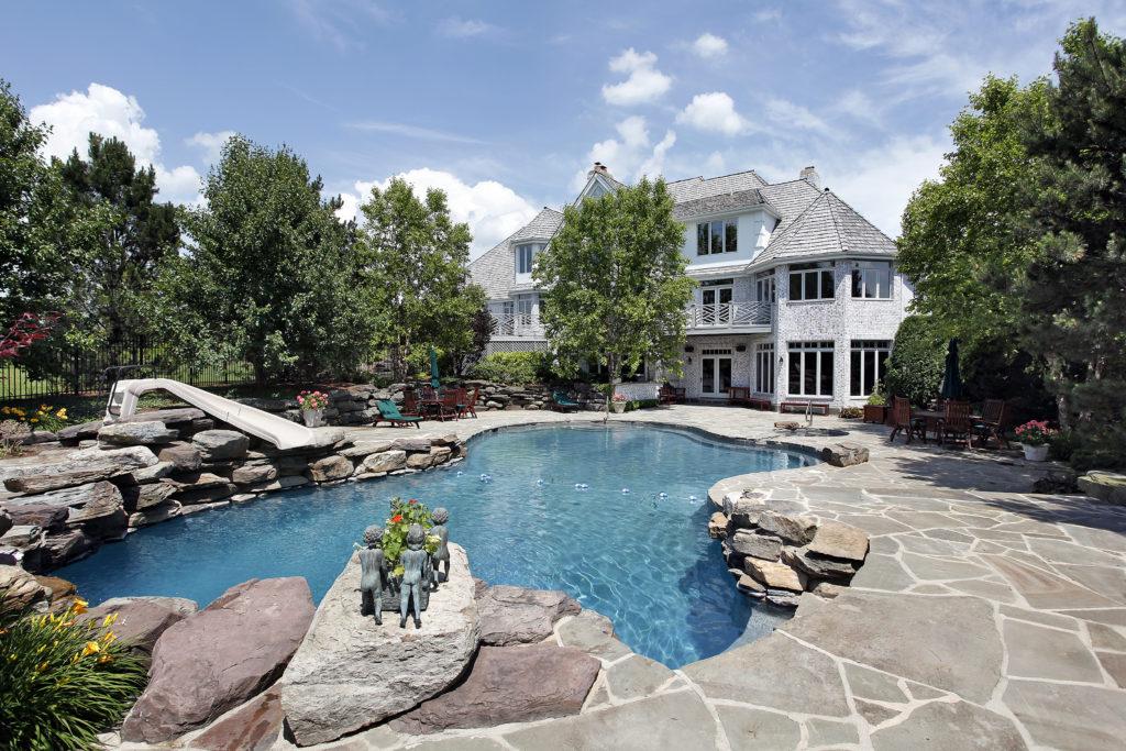 Luxury stone pool in back yard