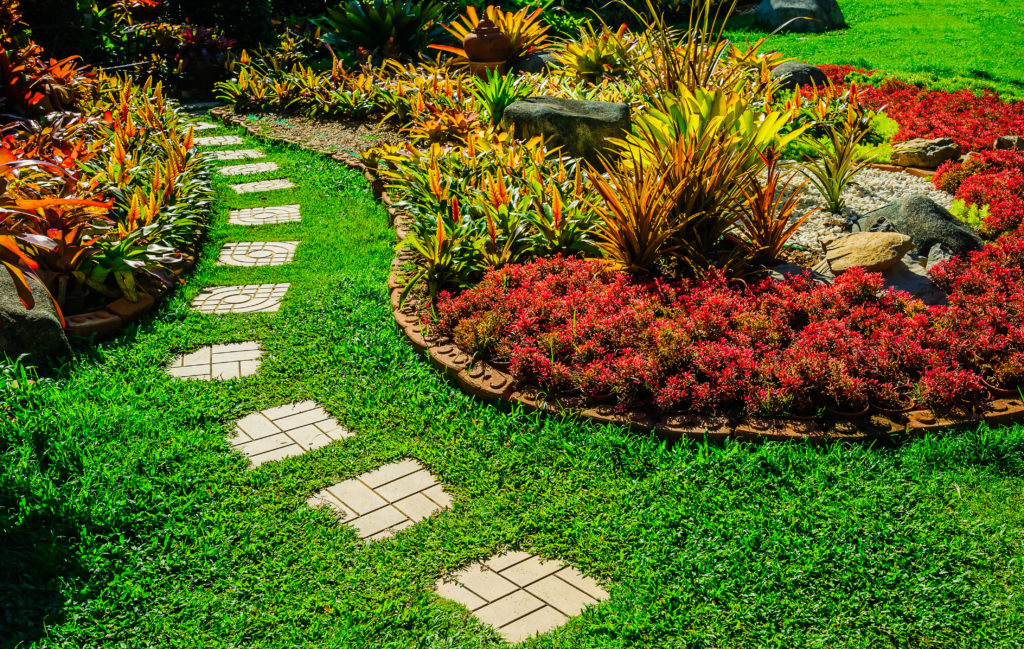 Stone walkway in grassy backyard