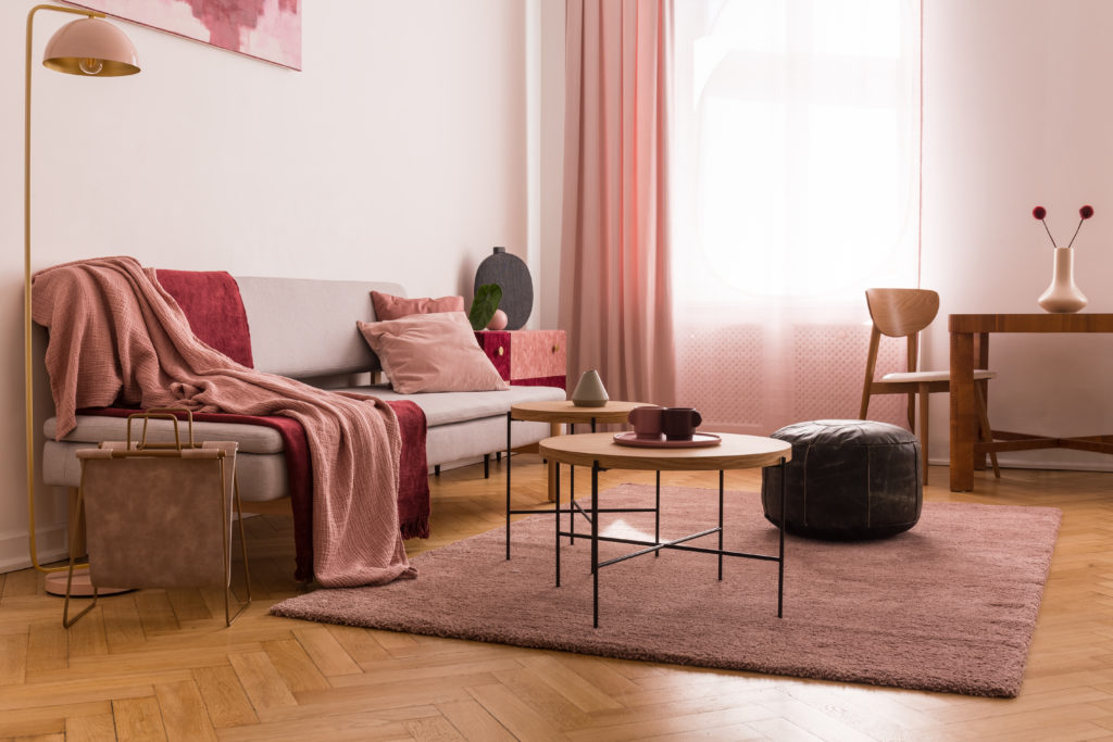 Pastel pink living room paint color