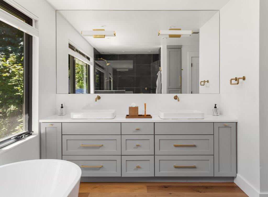 Modern bathroom cabinets painted grey