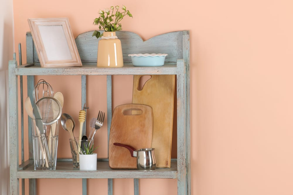 peach colored walls in a feminine kitchen
