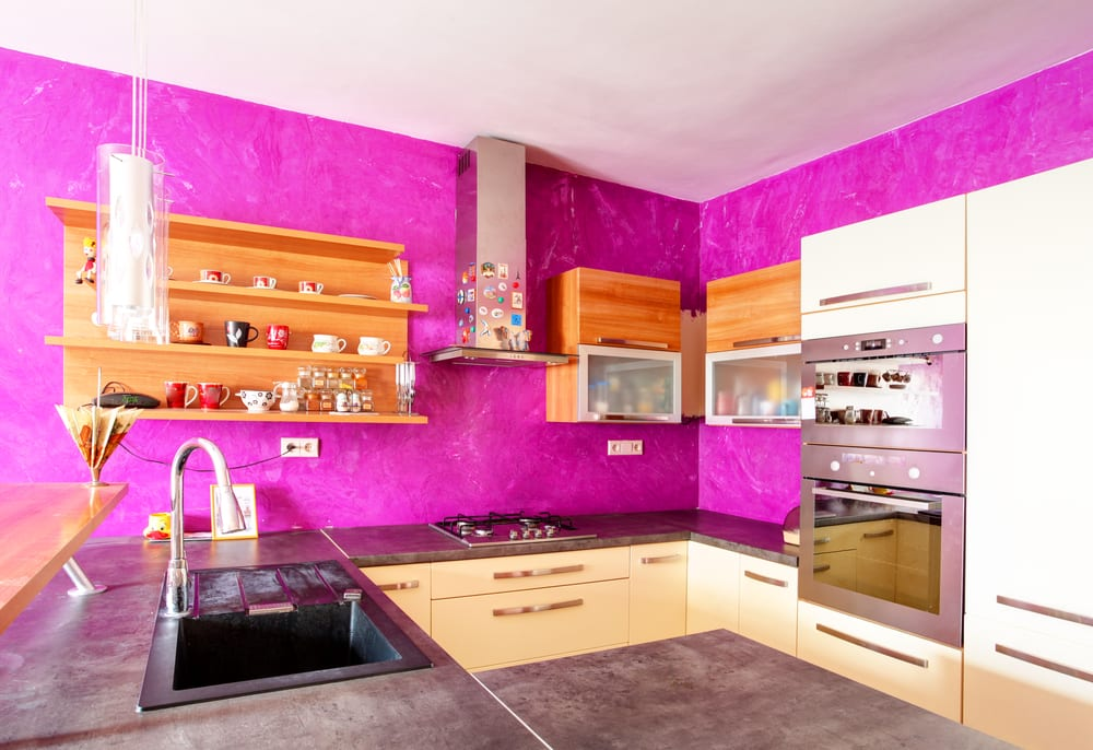 Hot pink kitchen walls in a modern kitchen