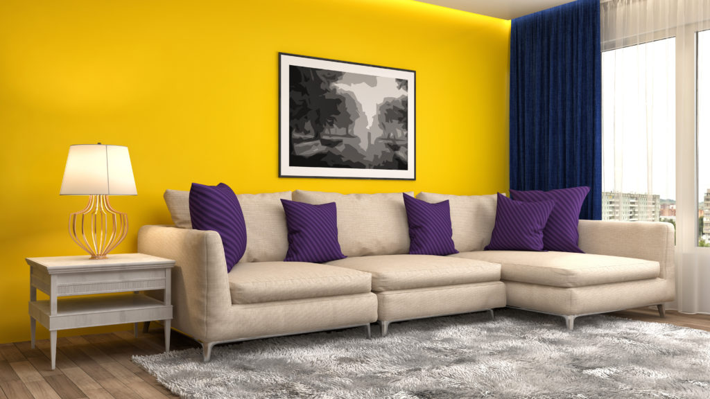 Modern living room with a bright yellow paint color