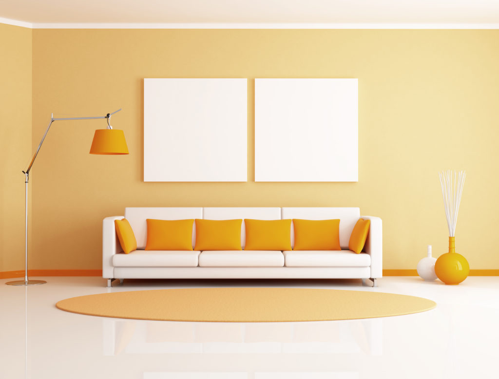 Tangerine colored living room paint color