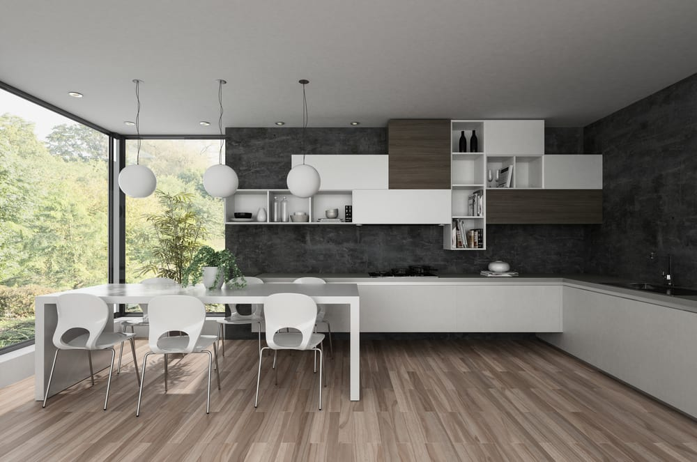 Dark grey walls in a minimalistic kitchen
