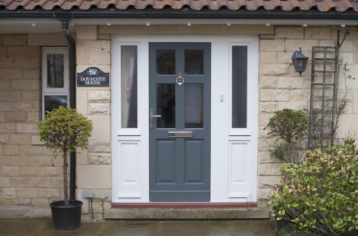 Dusty blue gray front door color