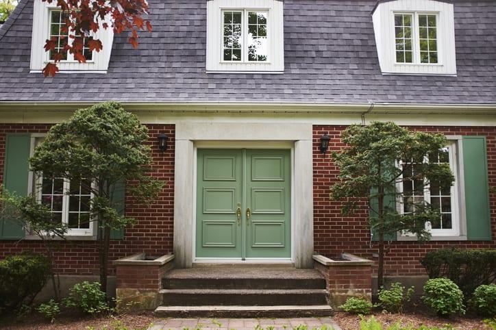 Fresh green front door