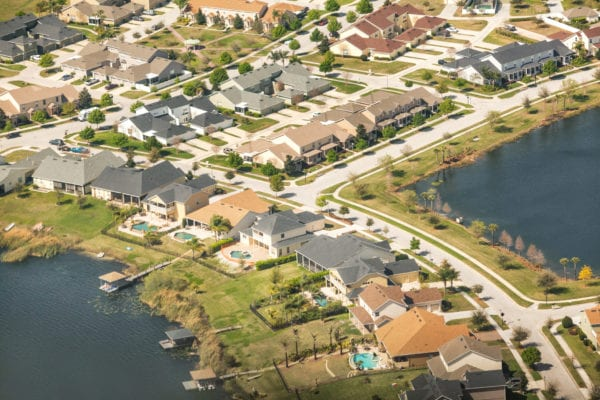 An aerial view of homes in an Orlando suburb.