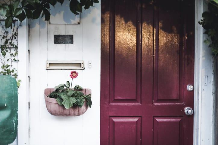 Maroon door entrance