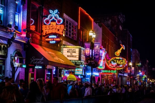 Lit-up Broadway street in Nashville, Tennessee