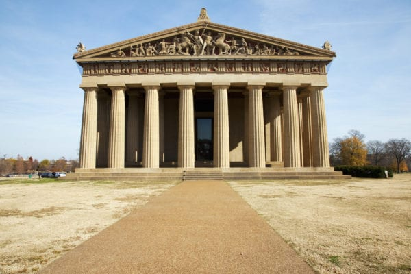 The Parthenon, Nashville, Tennessee, Centennial Park, Full Scale Replica Of Greek Parthenon At Sunset