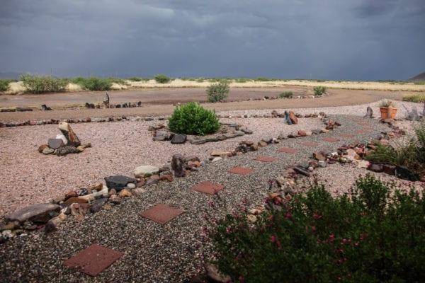 Stone path xeriscaping
