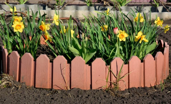 Recycled pallets for garden edging