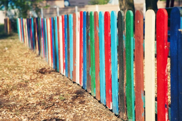 colorful wooden garden edging