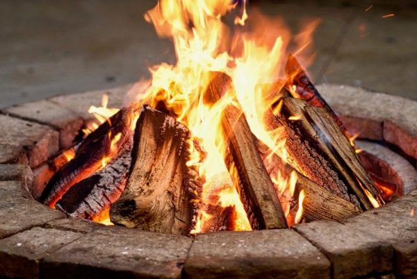 Close up firepit with bonfire