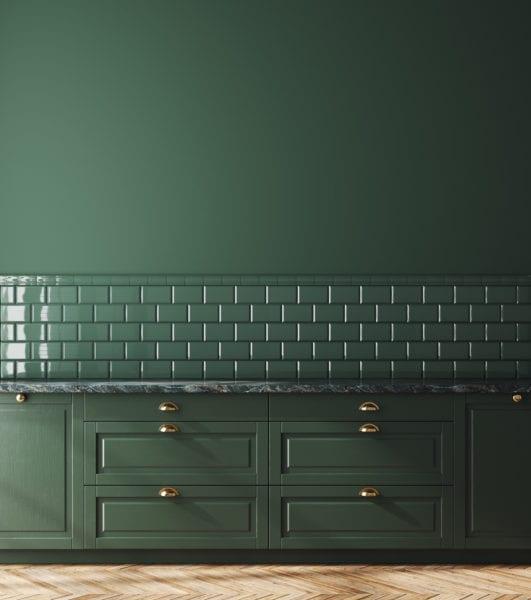 Empty dark green kitchen interior