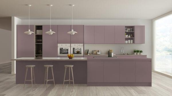 Minimalist lavender and wood kitchen