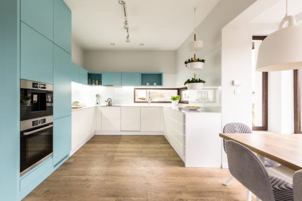 Blue and white cabinets in modern kitchen interior