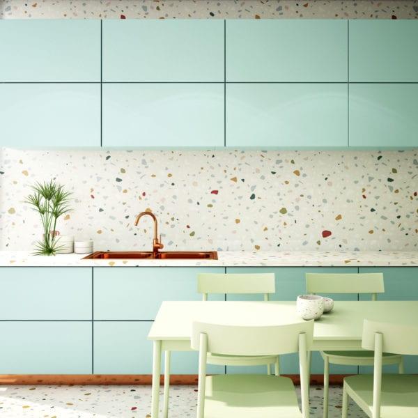 kitchen interior design in modern turquoise style