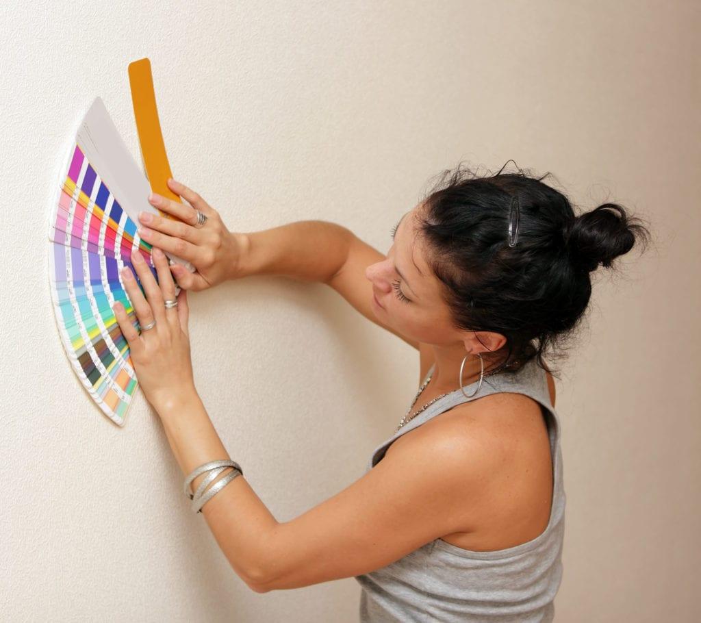 woman deciding on a color