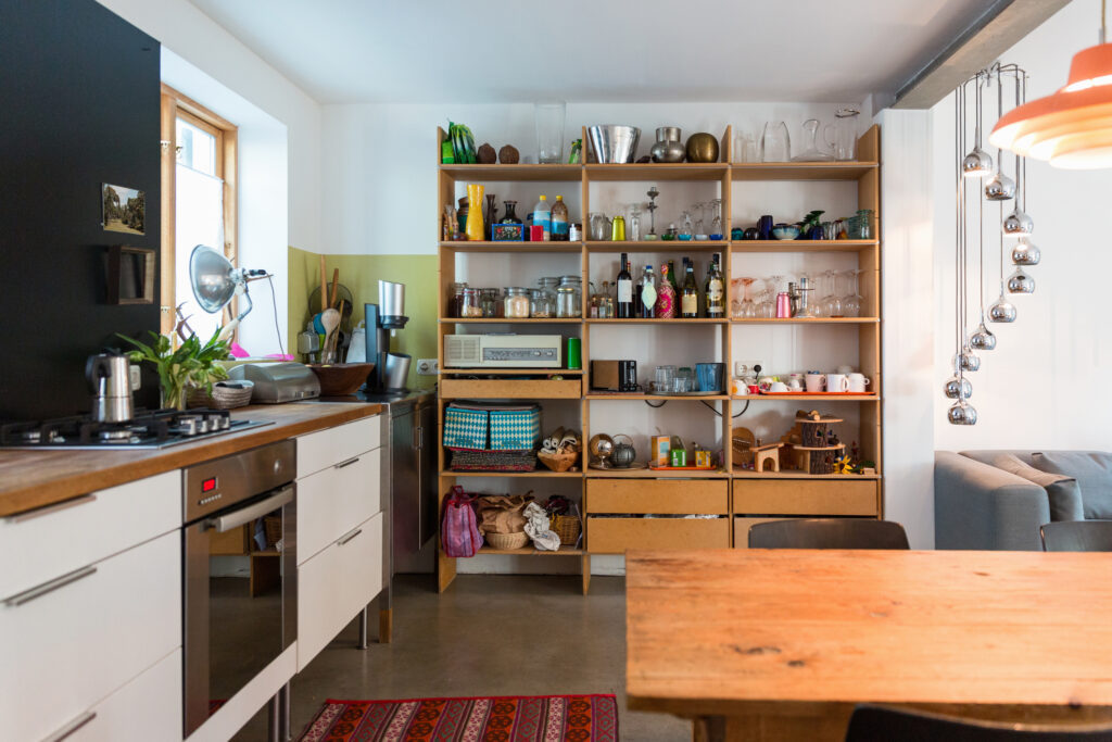 bookshelf in kitchen