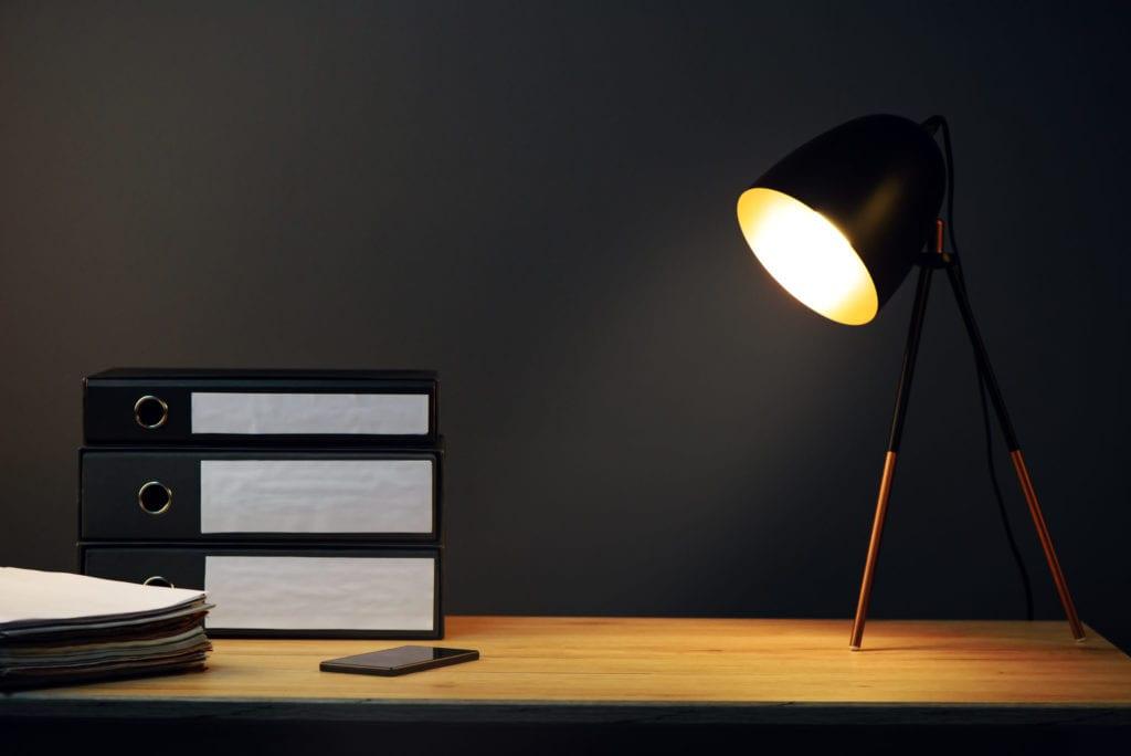 light on a desk