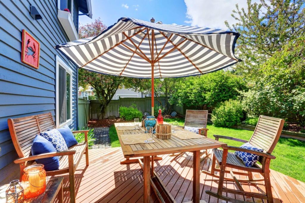 backyard umbrella in table