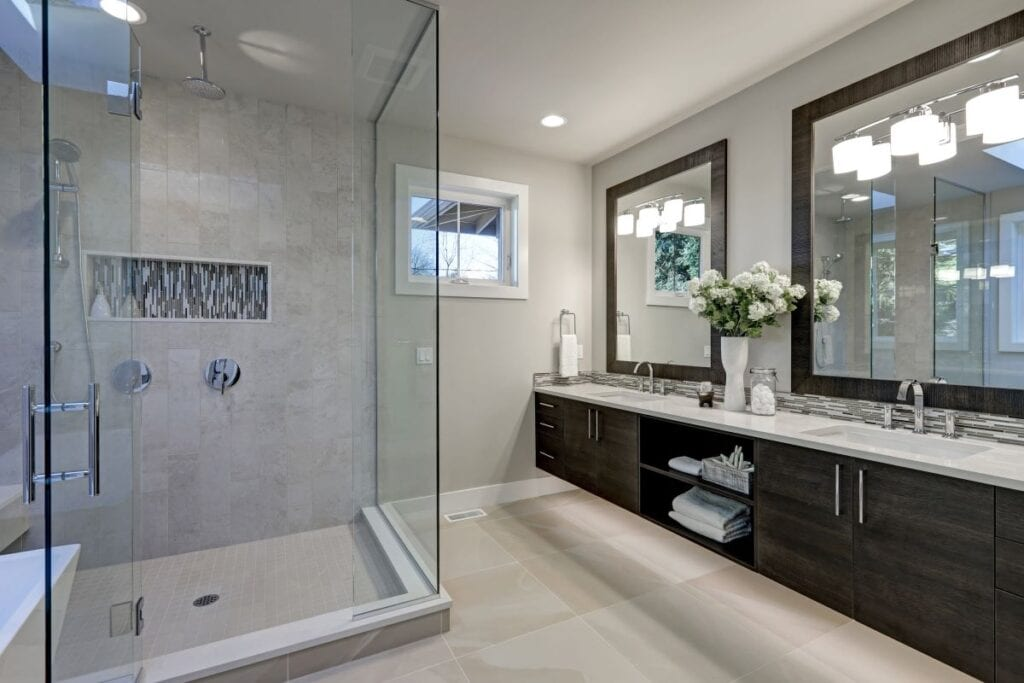 MOdern bathroom with greige walls and waterfall shower