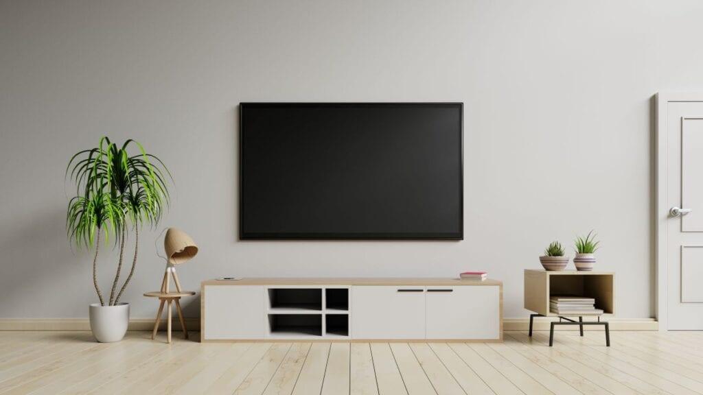 Greige living room or media room