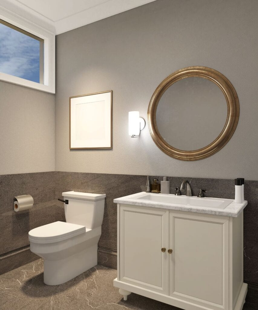 Modern powder room with wainscotting and greige paint